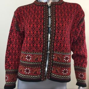 Dale of Norway Red Black Cardigan Sweater